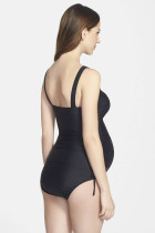 Black Ruched Maternity Tankini Swimsuit
