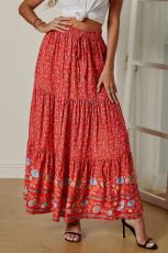 Cintura alta elástica da cópia floral vermelha de Boho plissada uma linha saia maxi