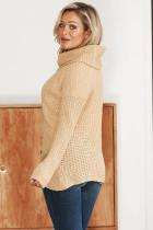 เสื้อกันหนาว Beige Buttoned Wrap Turtleneck