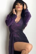 Purple Glitter Ruched Thit Slit Party Metallic Dress