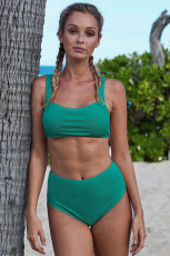 Green Ribbed Knit Sport-BH Bikini-Set mit hoher Taille