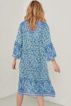 Gaun Print Mid-Calf Lengan Tiga Perempat Lengan Biru Langit