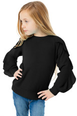 Svart Ruffle Raglan Pullover Girls Top