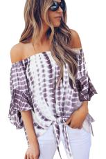 Purple Tie Dye Plaid Off Shoulder Blouse