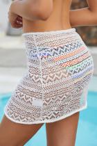 Λευκό Κομψό Crochet Sarong Κάλυψη