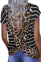 Raita musta leopardi painettu avoin takaisin lyhythihainen T-paita