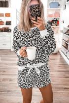 ชุดนอนกางเกงขาสั้นเสือดาวแขนยาว