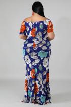 블루 오프 숄더 플로럴 프린트 플러스 사이즈 맥시 드레스
