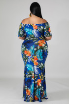 Green Off-the-Should Floral Print Plus Size Maxi Dress