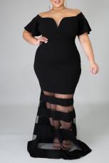 Hitam Plus Size Off Shoulder Banded Maxi Dress