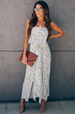화이트 끈이없는 치타 드레스