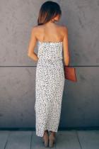 Hvit stroppeløs cheetah kjole
