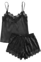 ชุดนอนซาตินลูกไม้สีดำ Cami ชุดเสื้อกางเกงขาสั้นและกางเกงขาสั้น