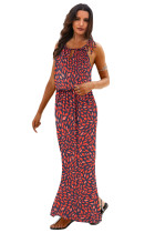 Red Floral Pattern Maxi Dress