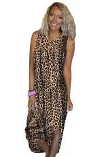 Sand i mina toes Leopard Print Midi klänning