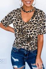 Leopard Print Choker T-paita