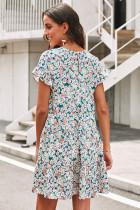 Veelkleurige gelaagde korte jurk met bloemenprint