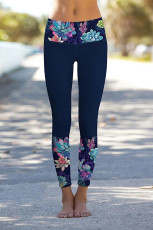 Navy Floral Printed Detail Legging Celana Yoga