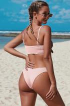 Rosa spagettiband Knut Ribbed Bikini