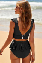 Hitam Buka Kembali Ruched Halter Top Shorts Tankini Set