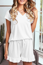Vit Super Soft T-shirt Ruffle Shorts Pyjamas Set