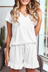 Weißes superweiches T-Shirt Rüschenshorts Pyjama-Set