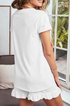 잠옷 세트 화이트 슈퍼 소프트 티셔츠 프릴 반바지