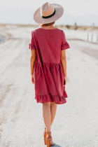 Rød Ruffle Swing Dress