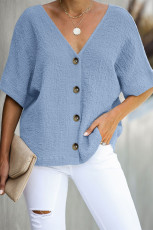 Sky Blue Soak It Up Cotton Button Down Bluse