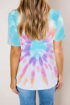 Multicolor Gradient Tie Dye T-shirt met V-hals