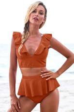 Oransje Open Back Ruched Halter Top Shorts Tankini Set