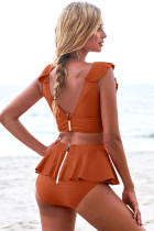 Ensemble tankini orange à dos nu et ruché