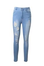 Blue High Rise Skinny Jeans Tertekan