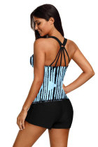Sky Blue Stripes Strappy Back Tankini Κορυφή