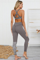 Grey Leopard Patchwork Yoga Set