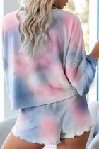 Blue Tie-Dye Pyjamas Loungewear Set