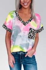 صورتی رنگ Hypnotized Tie Dye Leopard Top