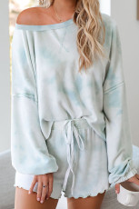 Sky Blue Tie-Dye Pyjamas Loungewear Set