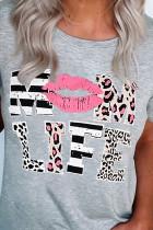 Leopard Mom Life Lips Grå T-shirt