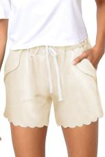 Beige Casual dragsko ficka shorts