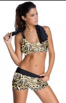 Leopard Sports Bra Tankini baddräkt med svart väst