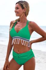 Green Strappy Tua Bow Back Cao Eo Bikini