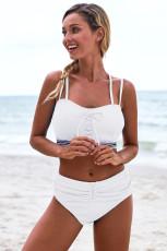 Bikini trắng chi tiết eo cao bikini