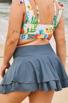 Váy bãi biển Ruffles hai lớp màu xám