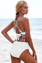 Tassel Bowknot White Strappy Back bikinist کمر بالا