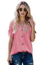 Cà vạt màu hồng giản dị thắt nút tay áo ngắn cổ chữ V