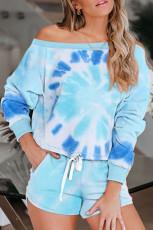 Himmelblå slipsfärgtryck Långärmad toppar och shorts Pyjamasuppsättning