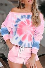 Pink Tie Dye Printed Långärmad toppar och shorts Pyjamas Set