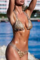 Verstellbarer Riemen Pailletten Bikini Set