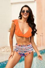 Pomarańczowy marszczony strój kąpielowy z topem w bikini